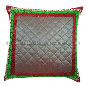 "Indian Pillow Dupion Silk Gray Cushion Cover Pillow Weaving Border Square 16"" X 16"" PL21758A"
