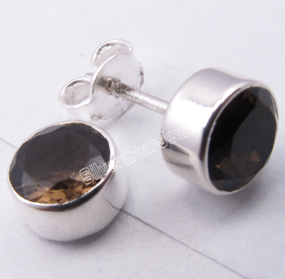 925 Pure Silver BROWN SMOKY QUARTZ Studs MADE IN INDIA Earrings 0.8 CM ONLINE