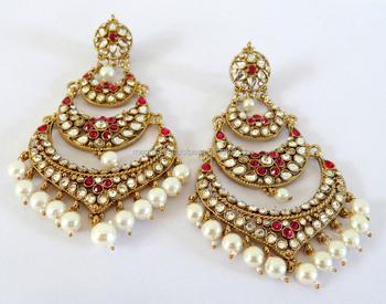 59b0d445c Bollywood Style Kundan Earrings-Wholesale Oversize big chandelier earrings-Punjabi  Chandelier Earrings-Pakistani
