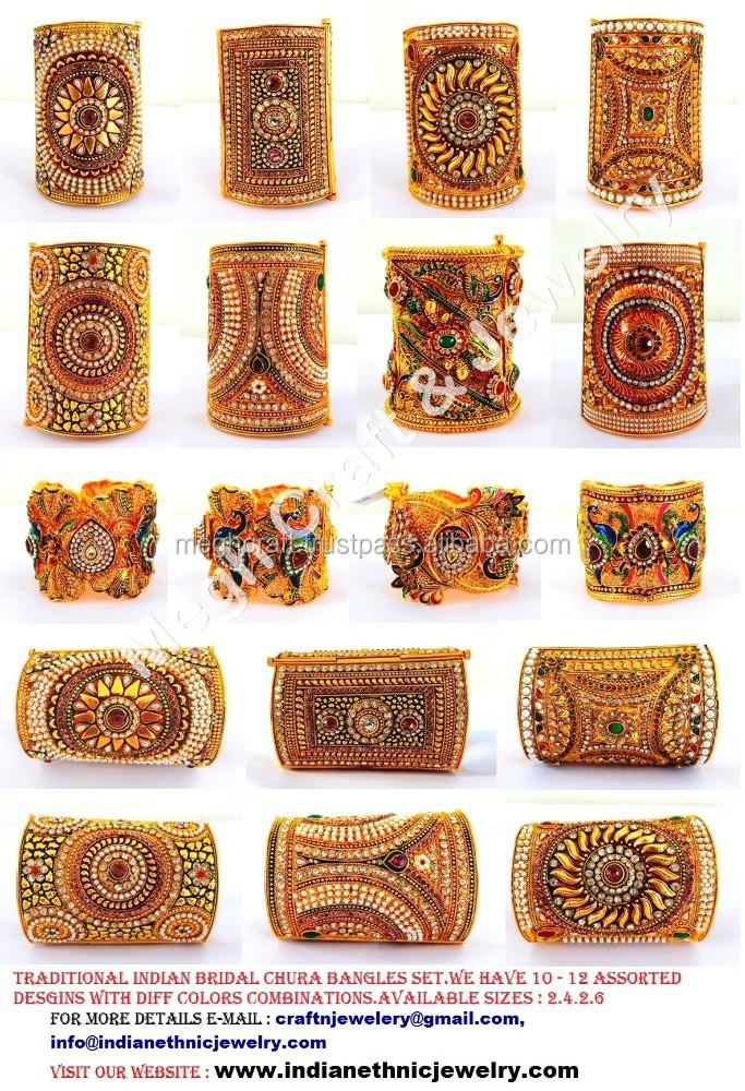 Wholesale Indian Traditional Kundan Polki Bridal Chura Bangle- Online  Wholesale One Gram Gold Bangles -rajwada Bridal Bangles - Buy 1 Gram Gold