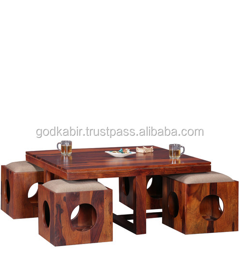 Sheesham Wood Coffee Table Set in Honey Oak Finish