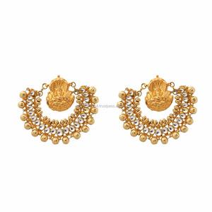 fdd7bc90f7c64 Big Round Ramleela Inspired Gold Plated Kundan Chand Designer Bollywood  Style Earrings