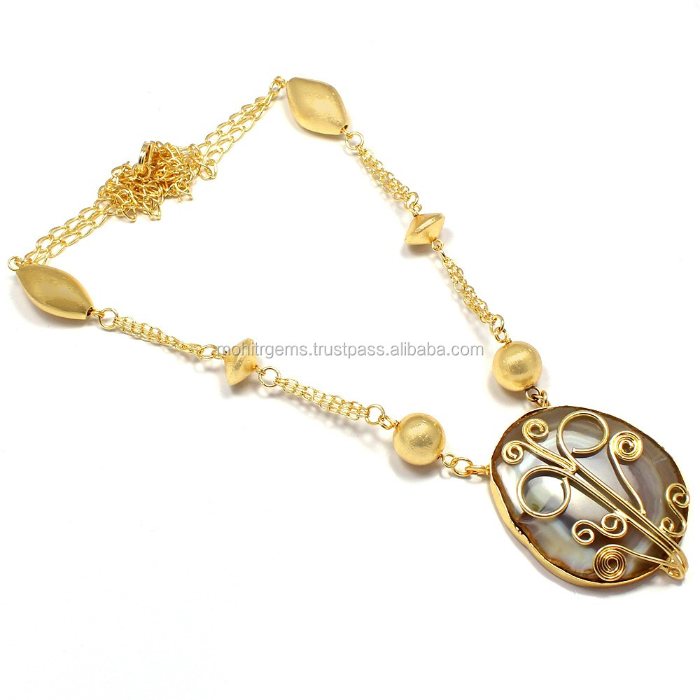 fda0b2bc2ea40 22 Carat Gold Plated Agate Slice Beaded Chain Vintage Beautiful L Necklace  - Buy Gold Stone Necklace Designs,Gold Chain Necklace Designs,Handmade ...