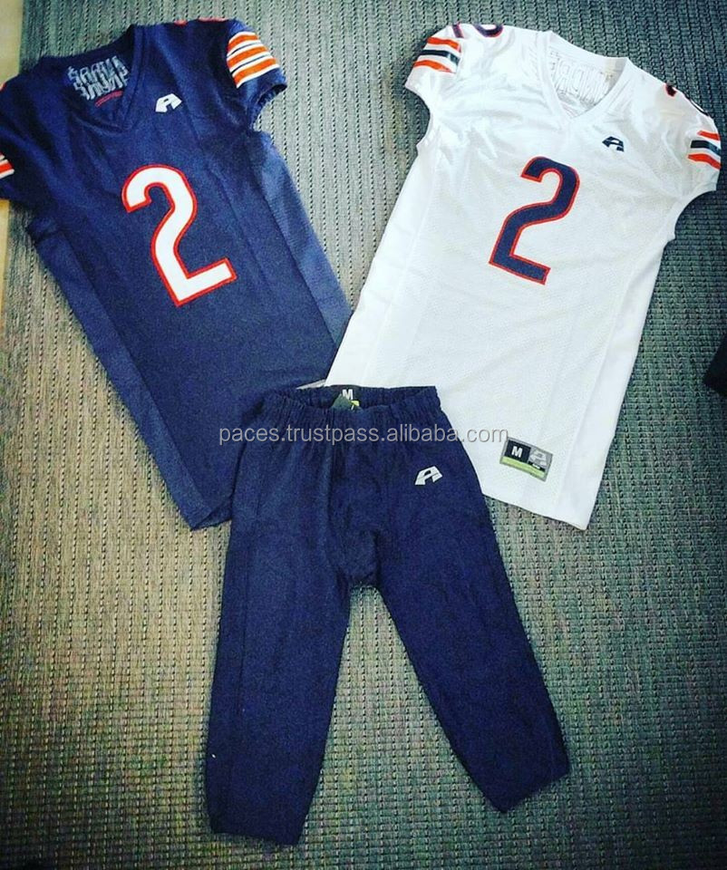 Custom American Football Uniforms with Customized Player Names, Team Names, Numbers & Labels