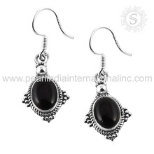 Black Onyx Gemstone Earring Fashion accessories 925 Sterling Silver Jewelry Wholesale