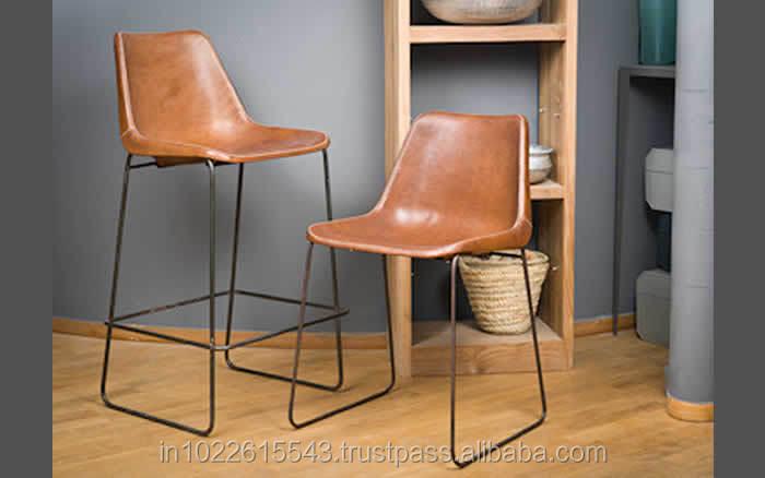 Giron hierro y cuero silla de comedor industrial de la for Sillas para comedor industrial
