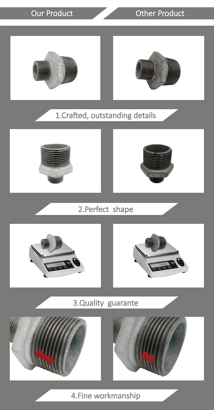 Malleable iron pipe fitting eccentric reducer types nipple