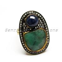 Silver Ruby Blue Sapphire_Emerald Gemstone White Diamond Ring Jewelry, Latest Design Silver Jewelry, Antique Silver Jewelry