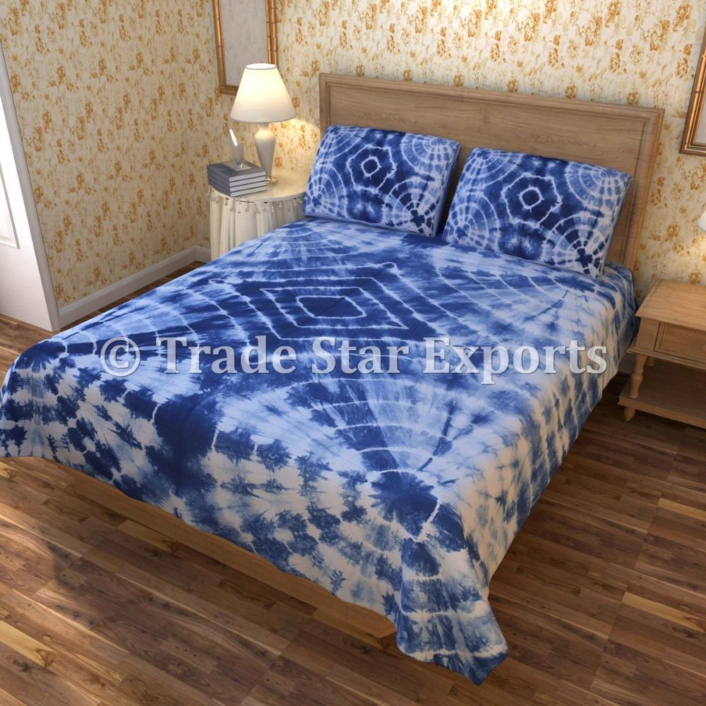 Indian Tie Dye Shibori Bedspreads Cotton Throw Indian Blue King Size Bedding Set