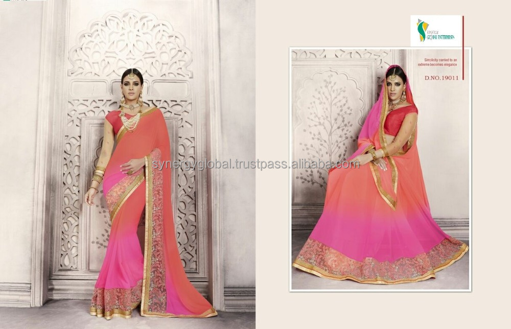 Zari work gerogette sarees with for bridal wear- Wholesale sarees online India - Surat sarees online