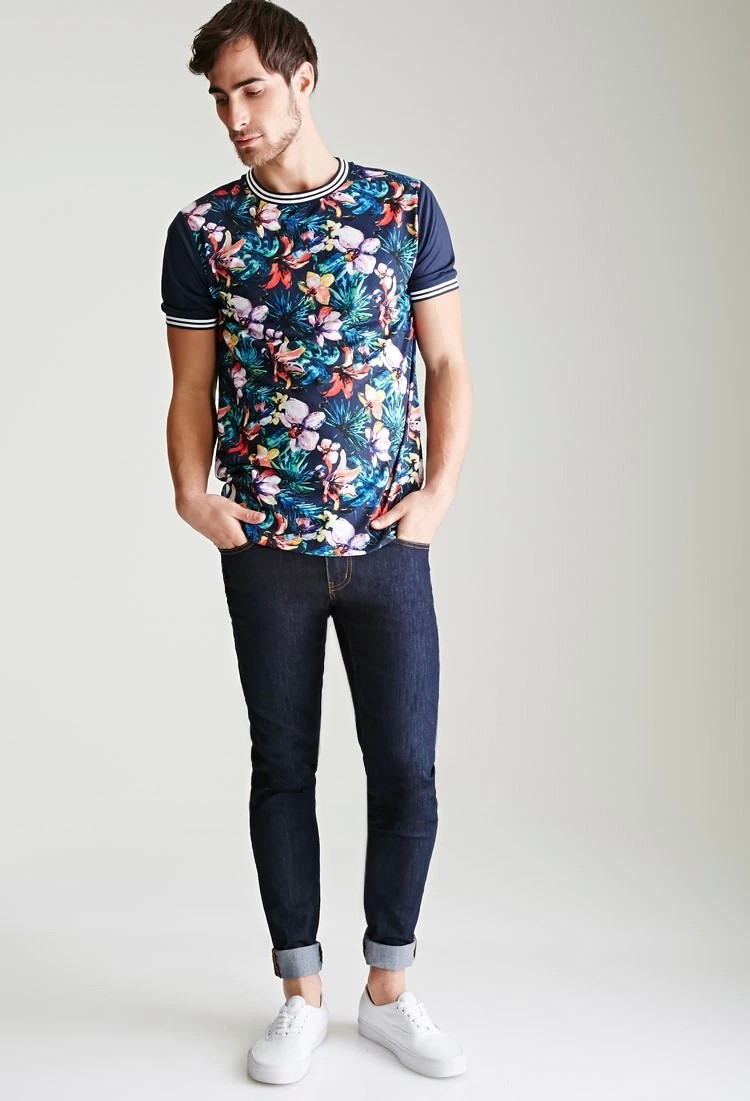 100% Polyester Short Sleeve Full Printed Watercolor Floral Varsity-Stripe T-Shirt