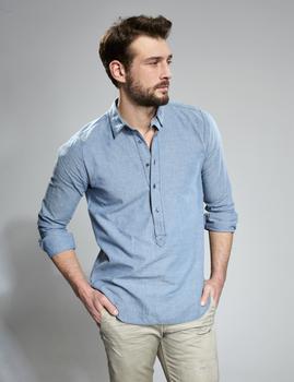 80788c4662 2017 denim shirts - Pure Cotton Plain Dyed Men s Kurta Type Denim Shirt