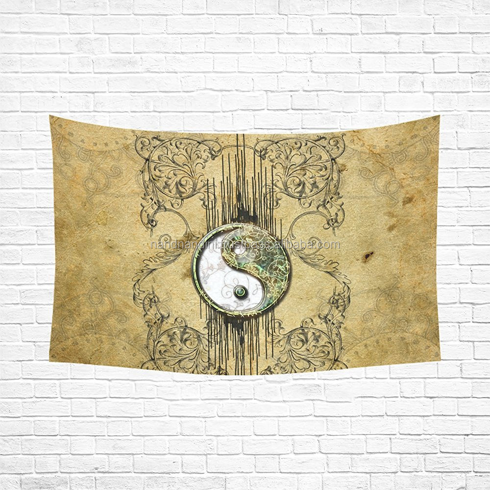 Indian Wall Hanging Dragon Ying Yang Cotton Tapestry Full Size Boho Tapestries NNQT004