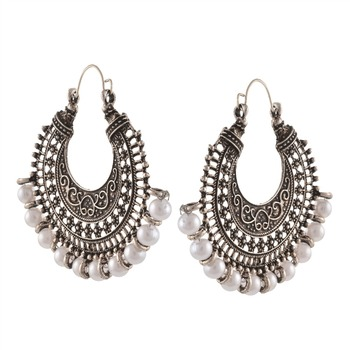 01c3242da Zephyrr Fashion German Silver Chandbali Hoop Earrings with Pearls for  Women. View larger image