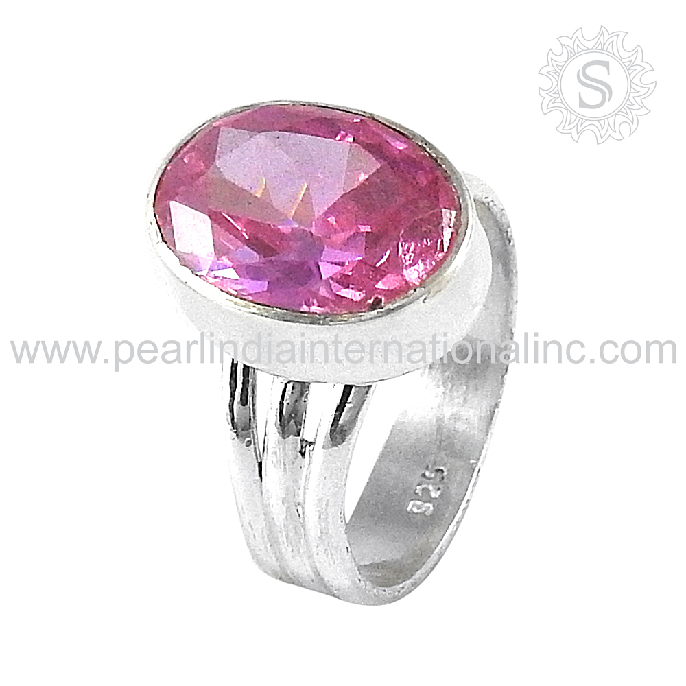 Glittering Pink CZ Gemstone Silver Ring 925 Wholesale Sterling Silver Jewelry From India