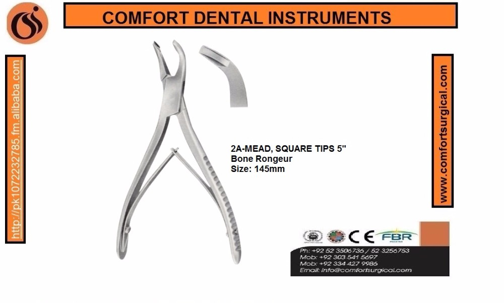 "Dental Bone Rongeur Forceps 2A-MEAD, SQUARE TIPS 5"" Stainless steel"