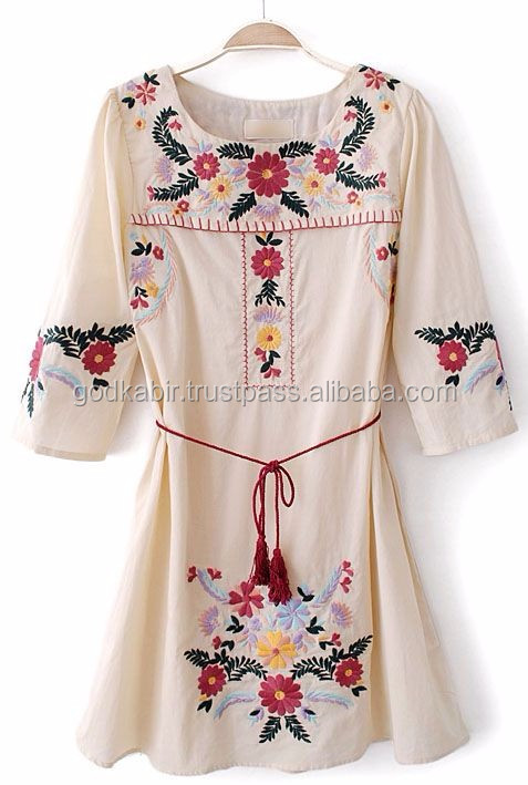 Orange Beautiful Embroidered Short Caftan/ Casual Wear Dress For Women