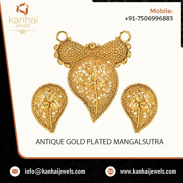 Latest Deign Trending Antique Gold Plated Mangalsutra for Export