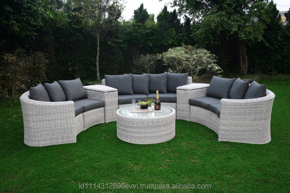 Round Synthetic Rattan Outdoor Garden Modular Regal Sofa with Aluminum Frame