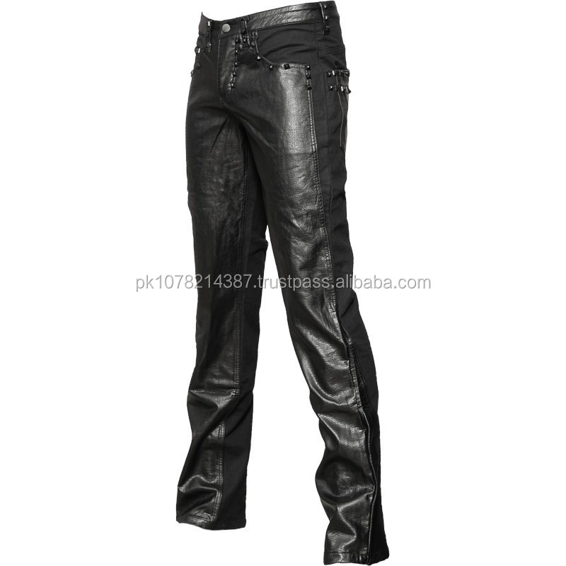 Gothic Black Denim Herrenhose mit Baumwollstoff in Lederoptik