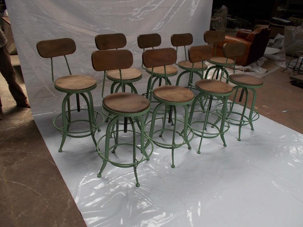 Estilo franc s vintage barstool estilo industrial antigua metal taburete silla alta para - Mobiliario vintage industrial ...