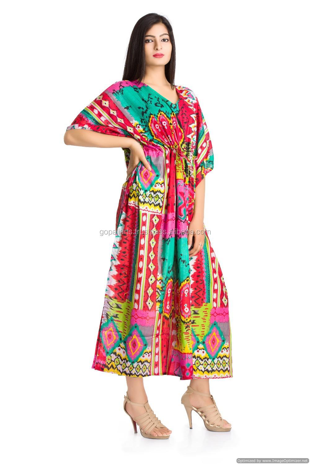 1b8116e5b4f Indian Kaftan Kimono Sleeves Plus Size Long Maxi Dress Bikini Cover Throw  Beach Cover Up Ikat