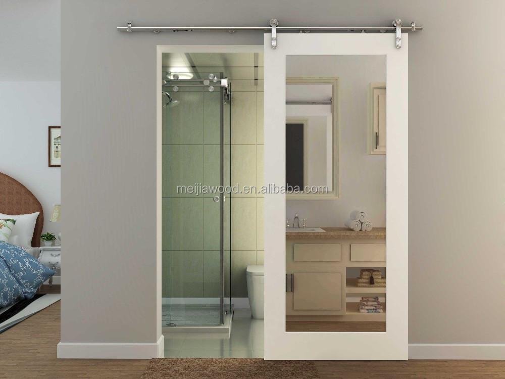 Bathroom Solid Wood Barn Door With Mirror Buy China
