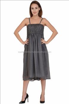 18e17c4541b Sexy Grey Polka Dot Printed Georgette Women's Sleeveless Dress - Buy ...
