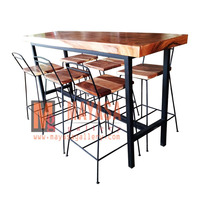 Bar Table and Chair Wood and Iron Indonesian Furniture