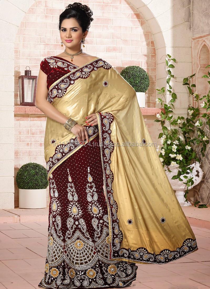 833569073519e Indian wedding lehenga sraee - Wedding reception lehenga saree - Hand saree  blouse designs - Heavy border work saree