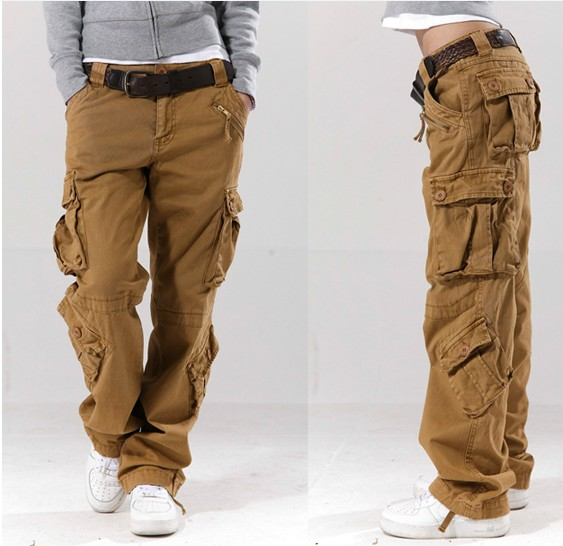 Fashion Khaki slim fit cheap used cargo work pants-Wholesale 6 pockets Cargo pants