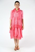 art 6572 long lace dress with long sleeves and coordinated scarf 100% cotton produced in italy wholesale