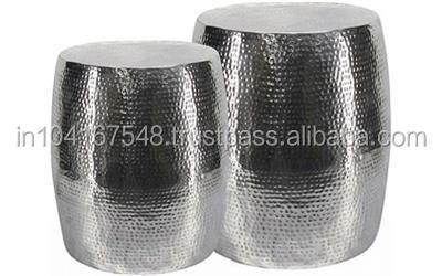 Sgabello in metallo argento martellato finitura sgabello vintage