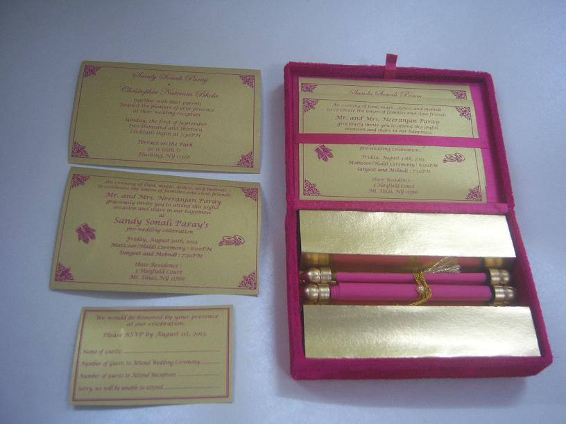 boxed scroll wedding invites made with velvet boxes and custom printed inserts for rsvp, thank you cards and address cards