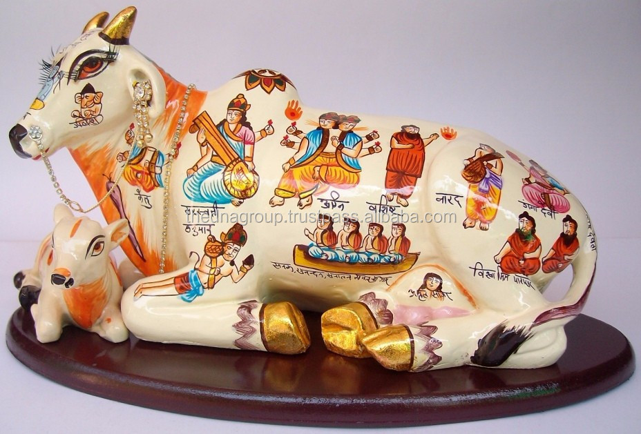 Resin Hand Painted Hindu Deities on Kamdhenu Cow