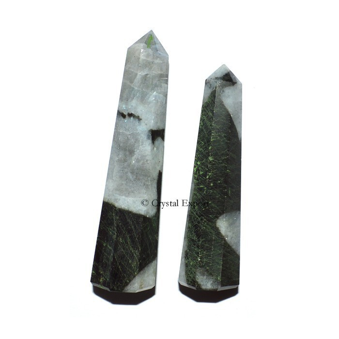 Rainbow Moonstone with Tourmaline Obelisk - Crystal Obelisk