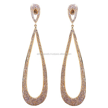 Pave Diamond 18k Rose Gold Drop Wedding Earrings Yellow For Women S Long Designer Jewelry Solid