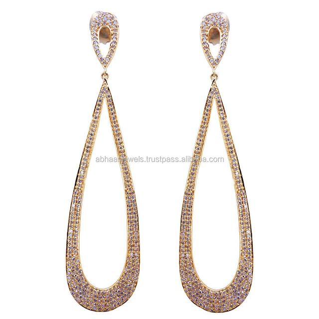 2d2dedaa090c Pave Diamond 18 K oro rosa pendientes de gota de la boda