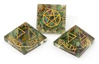 Orgonite Healing Crystals : Ruby Fuchsite 5 Elements Baby Pyramid