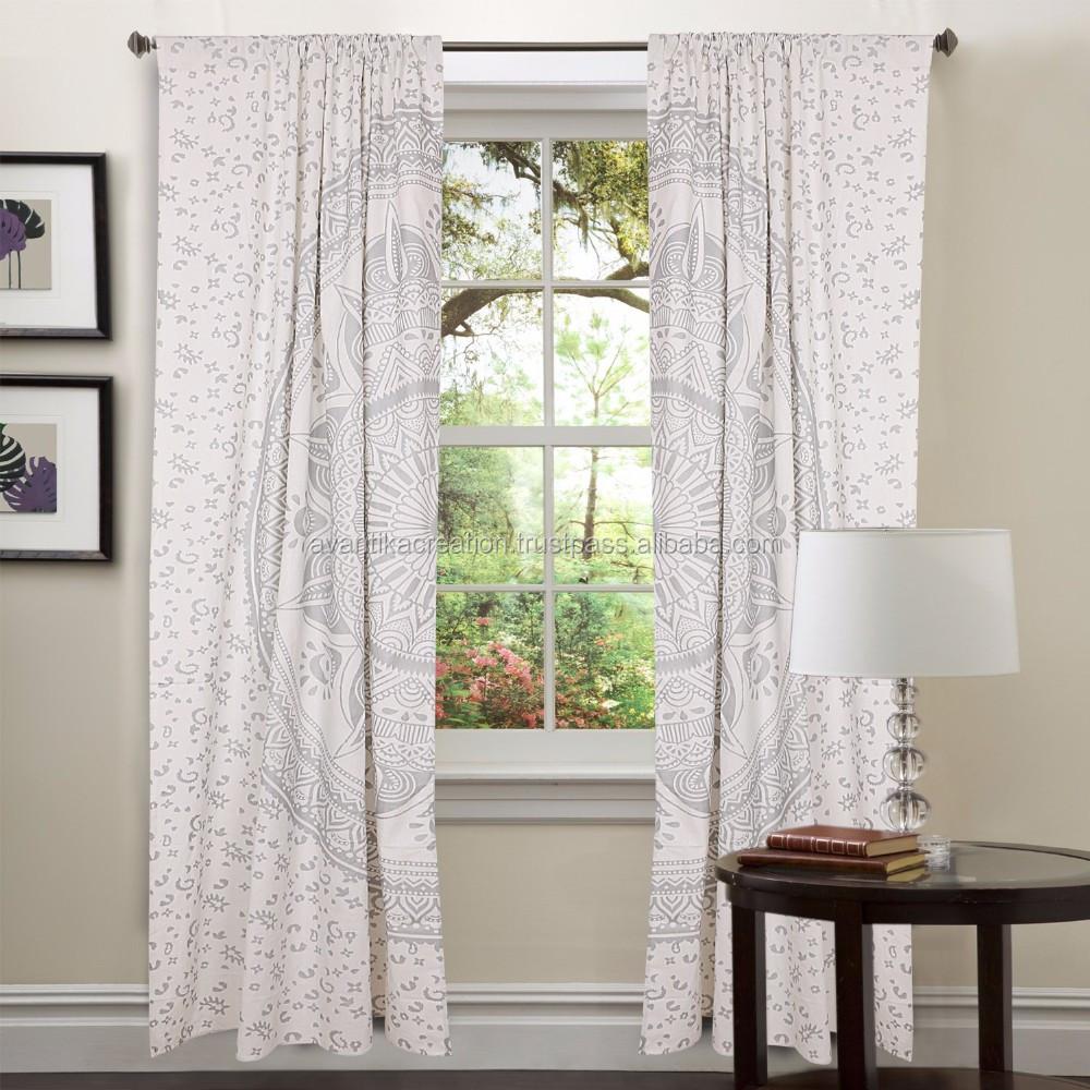 Weiß Indischen Mandala Vorhänge,Tapisserie Vorhänge,Fenster ...