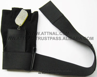Black Fitness and Exercise Gloves Combination of Real Leather and Stretchable Fabric with Key Holder Wrist Wrap