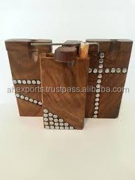 Wooden dugout metal inlay wooden smoking pipe
