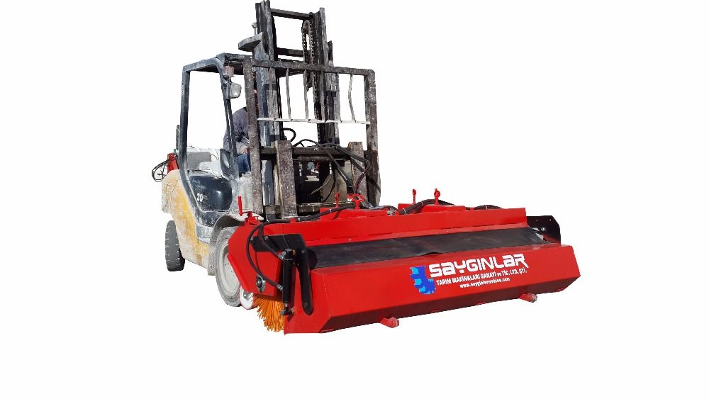 Forklift Mounted Road Sweeper With Bucket Hydraulic Yard Brushes