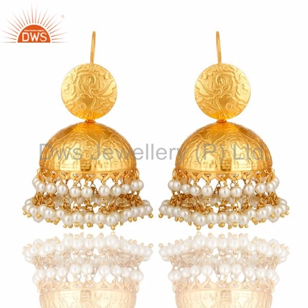 Gold Plated Brass South Indian Ethnic Look Jhumkas Pearl Gemstone Beads Handmade Earring Manufacturer