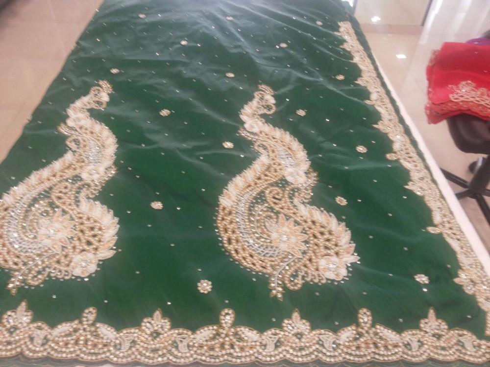 Wholesale Fashion African Raw Silk George Fabric/light Green-gold ...