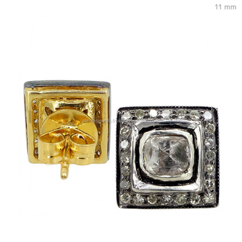 Indian Rose Cut Diamond Stud Earrings Sterling Silver Square Shape Handmade Jewelry