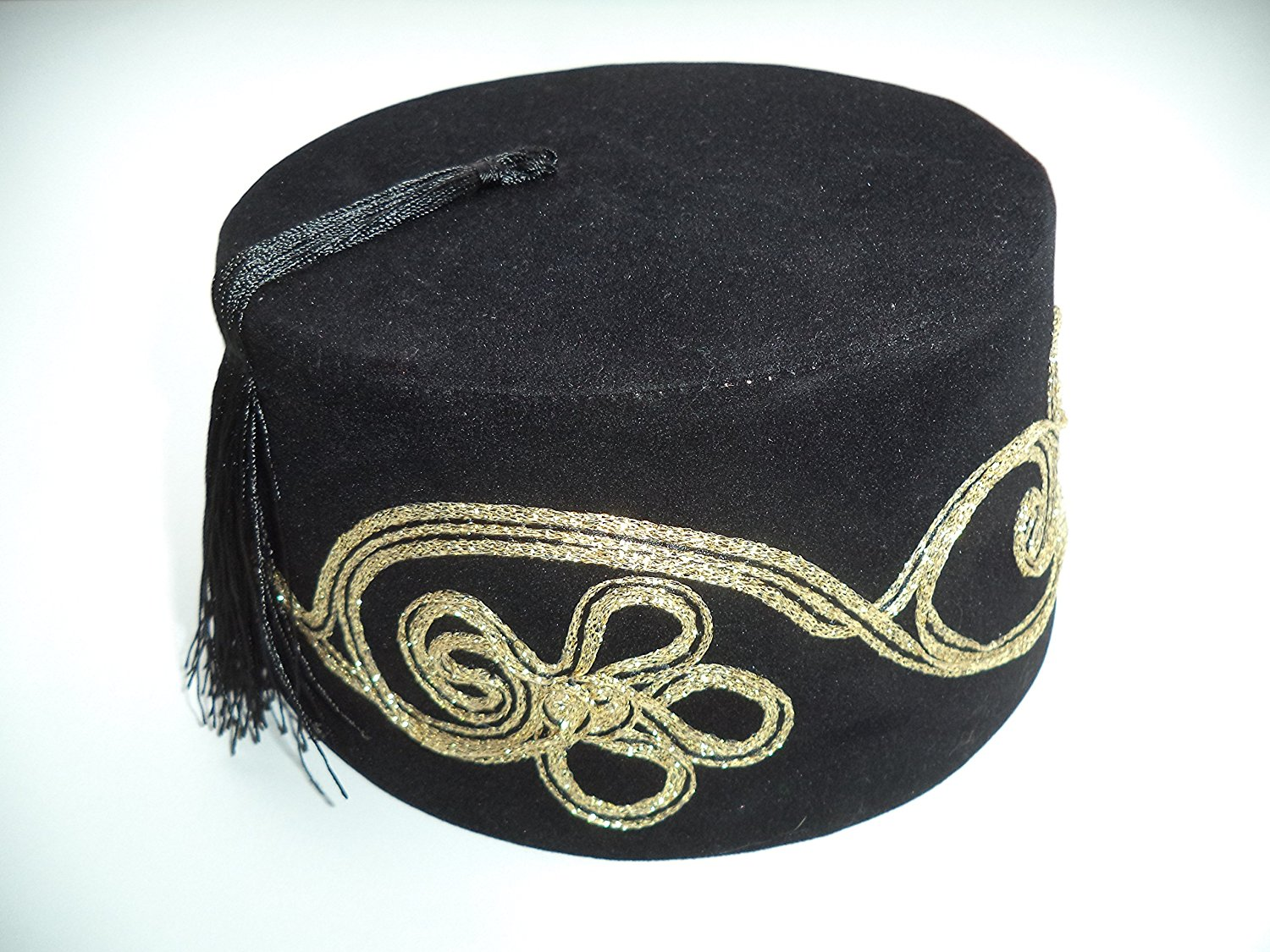 b3a8823c167 Get Quotations · Embroidered Fez Fes Authentic Turkish Ottoman Hat Tarboosh  Exotic Ottoman Wear (Black)