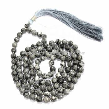 Grey Jasper 108 Beads Yoga Mala Spiritual Necklace - Buy Tibetan Buddhist  Mala Beads,Gemstone Mala Beads,Hindu Prayer Mala Beads Product on