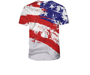 New 3D American Flag Creative Pattern Casual T Shirt Export Quality Sublimation t shirt Wholesale cheap 100% Polyester t