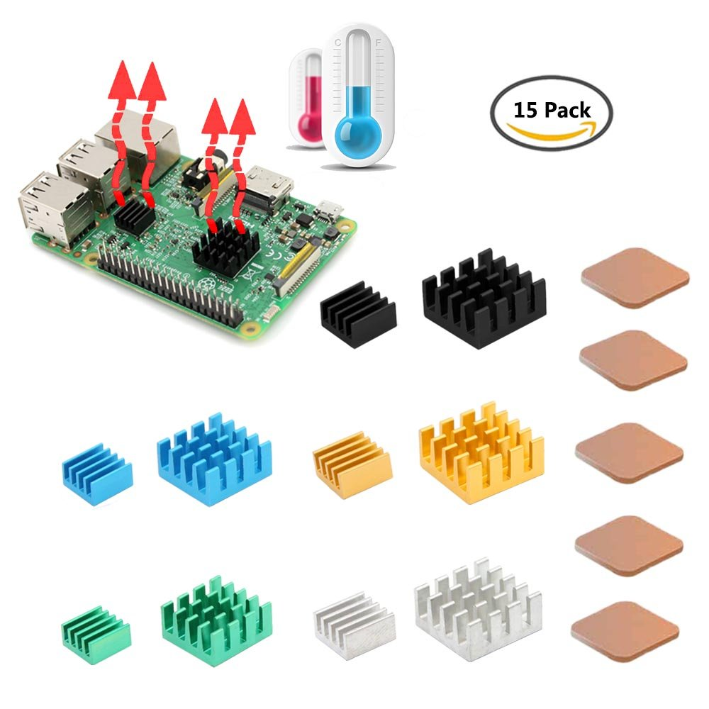 [Updated 8810 Thermal Tape] Raspberry Pi Heatsink, iUniker 15 Pcs Aluminum and Copper Heatsink Cooling Kit with Thermal Conductive Adhesive Tape for Raspberry Pi 3 B+, Raspberry Pi 3 B, Pi 2 B, Pi 1